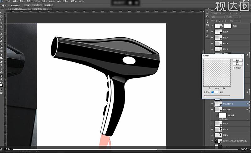 7选择上磨砂层的原件去除填充颜色为描边白色,然后执行高斯模糊参数如图示,再创建图层蒙版用画笔擦拭.jpg
