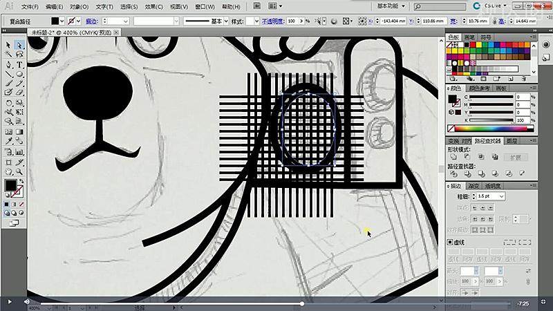 6旋转里面的小圈,绘制一个矩形,执行路径查找器-移除,然后选择网格和矩形,同样执行移除.jpg