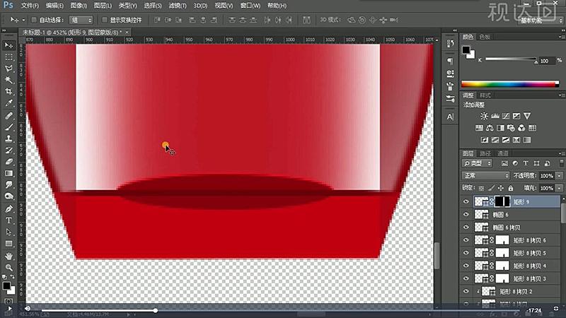 28用矩形工具绘制形状,创建图层蒙版,用渐变工具调整,复制一层下移,修改颜色为黑色,想以后,参数如图示.jpg