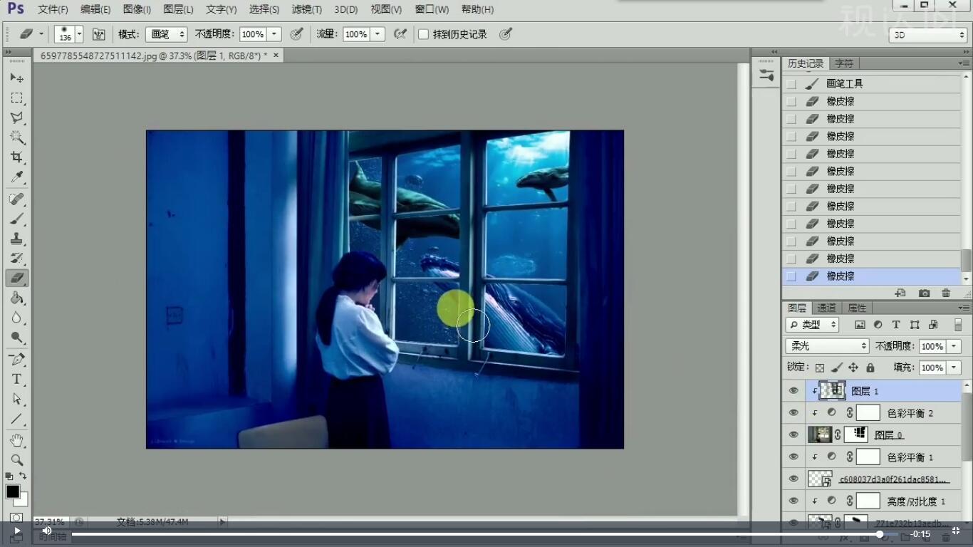 7新建剪切图层,模式为柔光,用黑色的柔角画笔调整明暗,效果如图示.jpg