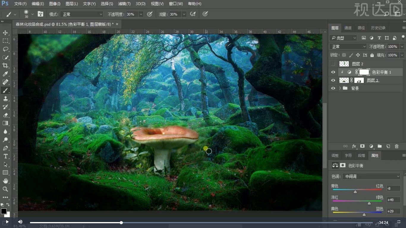 6导入素材并调整位置大小,选择蘑菇创建图层蒙版用画笔擦拭,再添加色彩平和调整图层,参数如图示.jpg