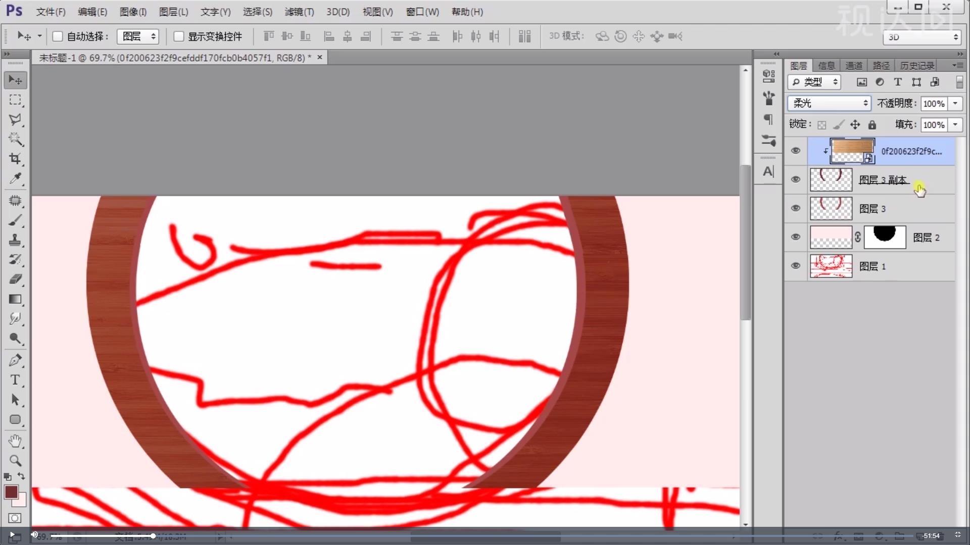 4.置入纹理素材,模式改为柔光,合并对应图层;复制一层,曲线调暗,再把原来的复制一层,曲线调亮,调整色彩平衡;分别添加黑色蒙版,用画笔调整明暗关系;.jpg