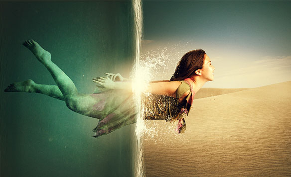 ps魔幻场景穿越水底合成海报制作_海报设计_90设计