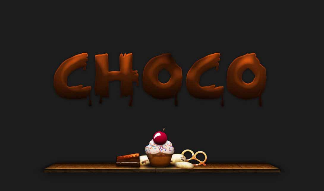 ps巧克力字体设计