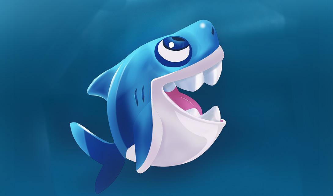 sai手绘卡通小鲨鱼