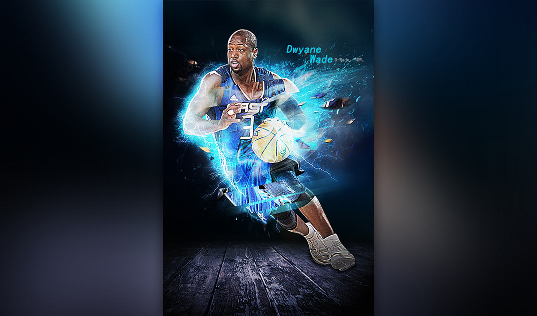ps篮球特效合成海报制作