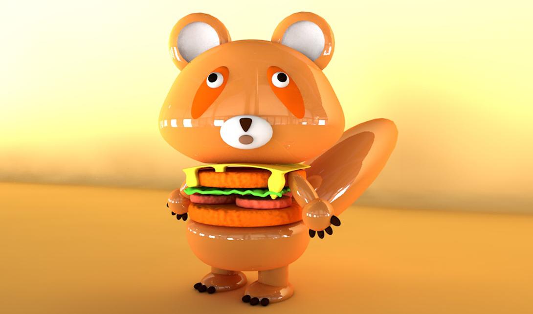 C4D小熊汉堡包视频教程