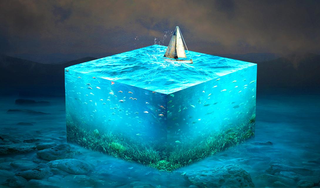 ps深海水立方創意海報設計
