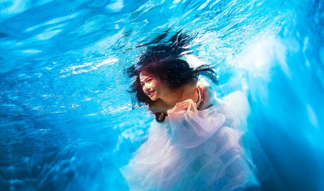 PS海底婚纱照后期调色视频教程