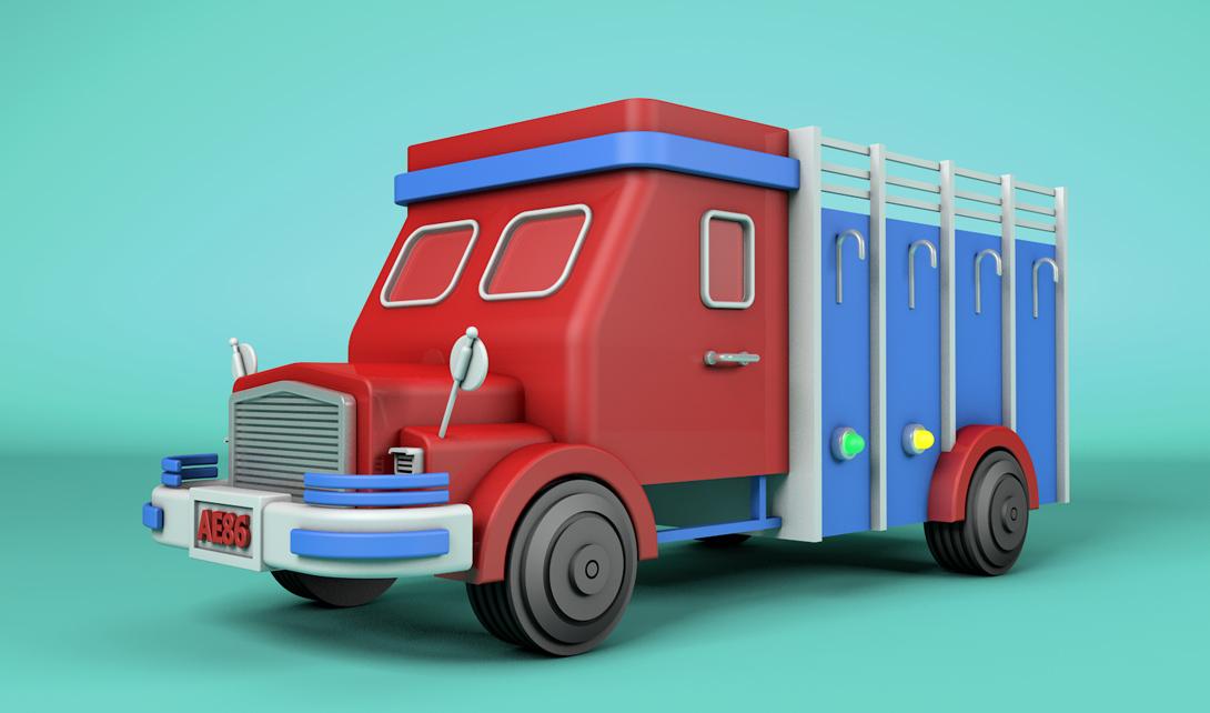 C4D消防车建模渲染视频教程