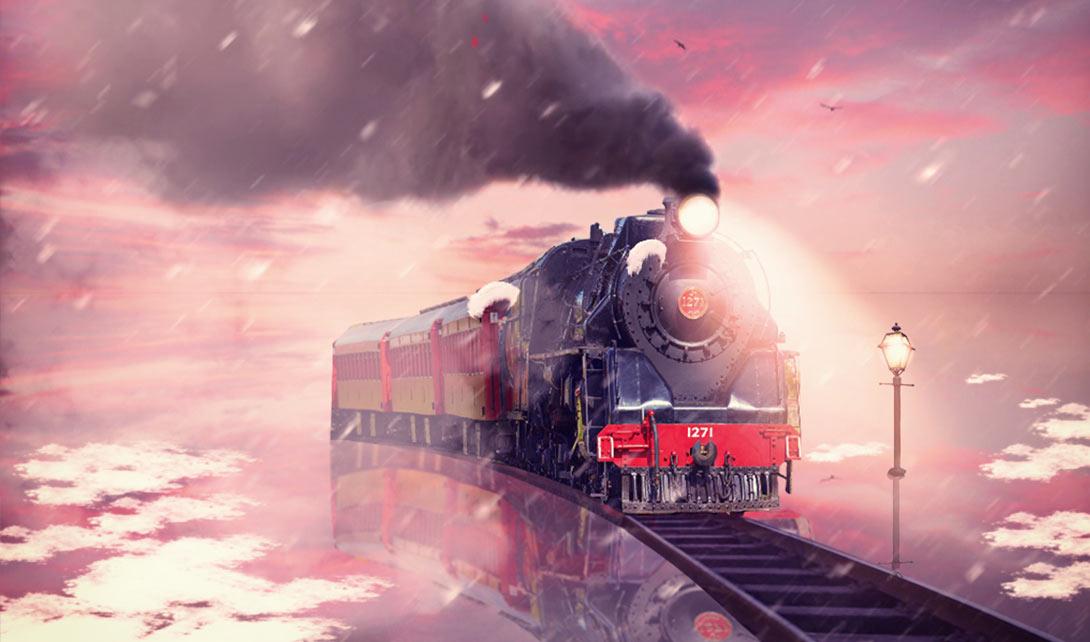 PS漫画风格火车合成海报制作视频教程