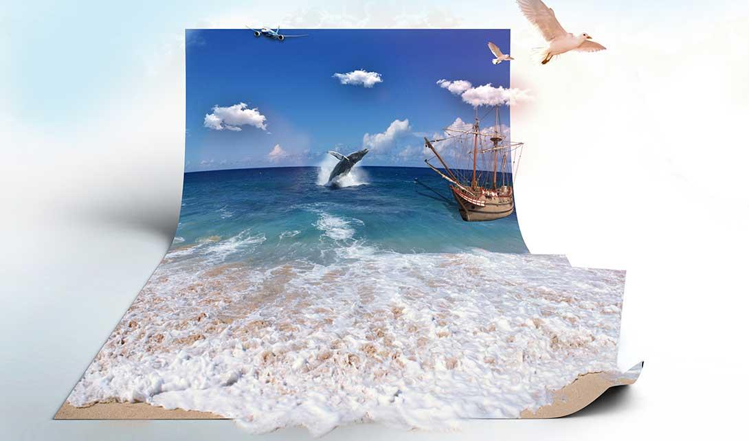 PS折纸海景效果海报制作视频教程